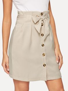 Shop Frilled Bow Tie Waist Button Up Skirt online. SHEIN offers Frilled Bow Tie Waist Button Up Skirt & more to fit your fashionable needs. Mode Outfits, Skirt Outfits, Trendy Outfits, Fashion Outfits, Girly Outfits, Fashion Trends, Short Skirts, Short Dresses, Mini Skirts