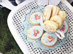 Spring & Easter desserts; french macarons and sugar cookies
