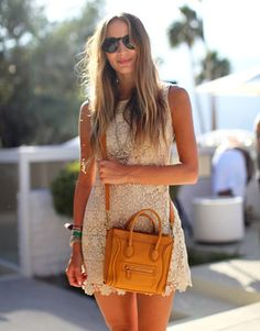 Crossbody Celine and round sunglasses...perfect compliment to the wavy hair and friendship bracelets.