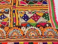 Multi Colored Hand Embroidered Vintage Shawl - Pure Woolen Mirror Work Rabari Dhabdi - Kutch Embroidered Body Cover-up - Women's Dupatta Border Embroidery Designs, Folk Embroidery, Kutch Work Designs, Blouse Designs Silk, Indian Textiles, Mirror Work, Throw Rugs, Textile Design, Tapestry Wall