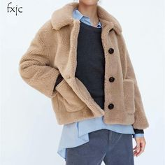Autumn Girl New Warm Lapel Long Sleeve Single Breasted Plush Texture Casual Big Pocket Loose Jacket Female 2018 Women's Jacket  Price: 28.95 & FREE Shipping  #fashion #tech #home #lifestyle Jackets For Women, Clothes For Women, Girl Falling, Jacket Pattern, Casual Tops, Single Breasted, Sleeve Styles, Autumn Girl, Woman Outfits