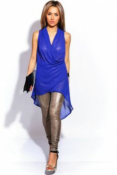 COBALT BLUE GOLDEN FLECKED DRAPED GRECIAN CHIFFON HIGH LOW PARTY TUNIC TOP $15