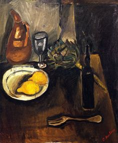 chaïm soutine(1894-1943), still life with lemon, c. 1916. oil on canvas, 63 x 54 cm. private collection http://www.the-athenaeum.org/art/detail.php?ID=56403