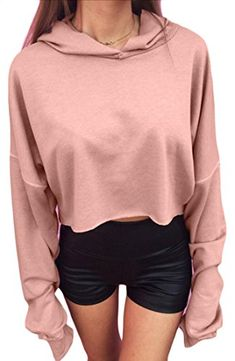 Zantt Womens Loose Crop Top Contrast Casual Pullover Hooded Sweatshirts