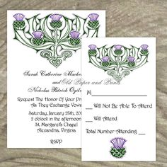 Celtic or Scottish Wedding Invitation Set - Thistles - Customizable Printable. $19.99, via Etsy.