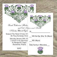 Celtic or Scottish Wedding Invitation Set - Thistles - Customizable Printable. $19.99, via Etsy.
