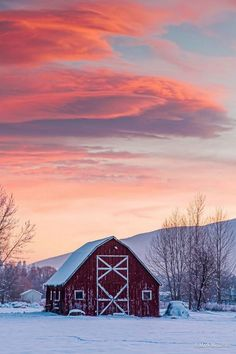 """Cool Sunset"" by Mark Mesenko - Missoula, Montana - Red barn in a snowy, mountainous landscape. Barn Pictures, Country Barns, Country Life, North Country, Country Living, Country Roads, Farm Barn, Country Scenes, Red Barns"