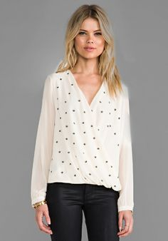 MM Couture by Miss Me Studded Drape Blouse