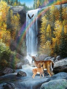 """Deer and Eagle at Waterfall"""""""" 500 Piece Jigsaw Puzzle"""