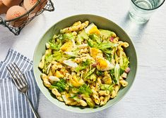 Deviled Eggs Pasta Salad Is Not Your Ordinary Side Dish countryliving Egg Recipes, Cooking Recipes, Candy Recipes, Yummy Recipes, Holiday Recipes, Summer Salads, Summer Bbq, Pasta Salad Recipes, Salads