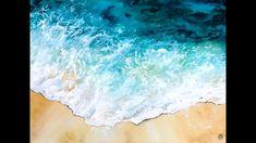 Ocean water in watercolors painting demonstration - Gouache Painting Watercolor Ocean, Watercolor Video, Watercolour Tutorials, Watercolor Landscape, Watercolor Paintings, Watercolor Pictures, Seascape Paintings, Acrylic Painting Techniques, Watercolor Techniques