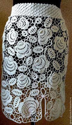 OK irish crochet lace sleeve Freeform Crochet, Crochet Motif, Irish Crochet, Crochet Stitches, Knit Crochet, Crochet Patterns, Crochet Bodycon Dresses, Crochet Skirts, Crochet Clothes