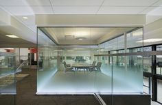 Browse and discover thousands of office design and workplace design photos - tagged and curated to make your search faster and easier. Corporate Interiors, Office Interiors, Glass Film Design, Focal Point Lighting, Exposed Ceilings, Skyline Design, Workspace Inspiration, Workplace Design, Environmental Design