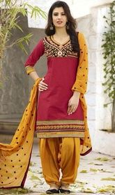 Red Color Embroidered Cotton Patiala Dress