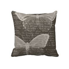 French Butterflies Brown pillow