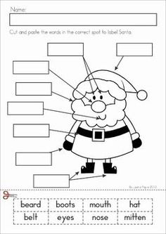Christmas Math Literacy Worksheets Activities for Kindergarten. Lots of fun, interactive, no-prep pages for December. A page from the unit: Label Santa cut and paste Literacy Worksheets, Math Literacy, Kindergarten Classroom, Kindergarten Activities, Classroom Activities, Christmas Worksheets Kindergarten, Blackpool, English Activities, Preschool Christmas