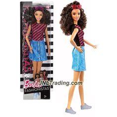 Mattel Year 2016 Barbie Fashionistas 12 Inch Doll - SPANISH BARBIE (DVX77) in Pink Black Dazzle Stripes Top and Blue Denim Skirt