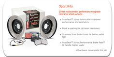 StopTech Sport Kits. Direct replacement performance upgrade rotors for stock wheels. #carpornracing #stoptech