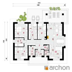 projekt Dom w nerinach rzut parteru House Plans One Story, One Story Homes, Dream House Plans, Story House, House Floor Plans, Brick Siding, Villa Design, First Story, Ceiling Height