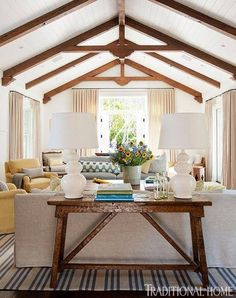 Check out this whitewashed tongue-and-groove ceiling design for a living room that we found on traditionalhome.com. Why not use Prefinished Wood Accents in Cape Cod Linen and get this same look today?
