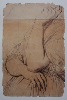 J.A.D. Ingres. Study of arms  for the portrait of Comtesse D'Haussonville. ca. 1845 or earlier.