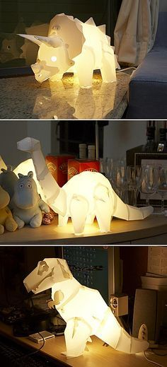 DIY Dinosaur Lamp!! ok this is not so much a MAKE as it is a WANT. i'll take the triceratops and diplodocus please. they're only 20 bucks!