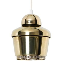 Alvar Aalto, Early Golden Bell Ceiling Lamp, Model A330, 1954 | From a unique collection of antique and modern chandeliers and pendants at https://www.1stdibs.com/furniture/lighting/chandeliers-pendant-lights/