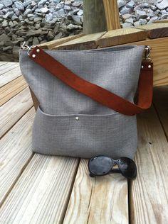 Gray slouch bag, hobo bag, shoulder bag, medium tote, travel bag with leather strap.
