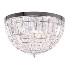 Add a touch of sparkle to a room with this chic ceiling light. Ideal for the living room, its simple yet elegant design features a contemporary chrome frame adorned with clear glass crystals to create an eye-catching effect.