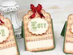 Wedding Escort Cards Vintage Style Christmas Music