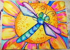 Watercolor insects; warm and cool colors, wet on wet, oil pastels