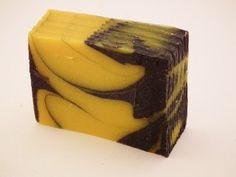 Rectangular Black and Orange Swirls in Hand Made Soap