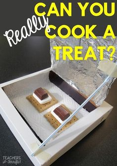 STEM Challenge: Can you really use the sun's heat to toast a treat? Yes, you can! It works surprisingly well! Steam Activities, Science Activities, Activities For Kids, Science Experiments, Science Ideas, Science Lessons, Teaching Science, Teaching Ideas, Science Education
