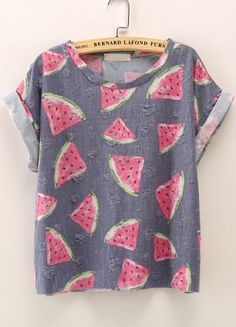 Blue Short Sleeve Watermelon Print T-Shirt