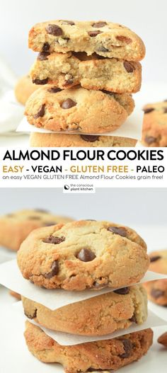 Dec 2019 - Those almond flour chocolate chip cookies are healthy chewy vegan chocolate chips cookies made with almond flour, paleo, gluten free, tahini cookies vegan Paleo Chocolate Chip Cookies, Almond Flour Cookies, Almond Flour Recipes, Healthy Cookies, Cookies Vegan, Chocolate Chips, Vegan Cookie Recipe, Almond Flour Baking, Desserts With Almond Flour