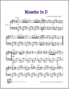Musette in D (Bach) | Free Sheet Music for Piano - http://makingmusicfun.net/htm/f_printit_free_printable_sheet_music/musette-in-d-intermediate.htm (Scheduled via TrafficWonker.com)
