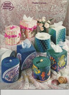 ASN Plastic Canvas Pattern Book Powder Room Pairs by Conn Baker Gibney 3143 for sale online Plastic Canvas Tissue Boxes, Plastic Canvas Crafts, Plastic Canvas Patterns, Craft Kits, Craft Supplies, Craft Ideas, Sticker Removal, Mini Roses, Leather Bags Handmade