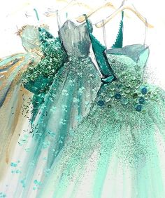 fashion illustration art print of green blue gold hue designer couture evening ball gowns by Katie Rogers Croquis de mode Paper Fashion, Arte Fashion, Ideias Fashion, Dress Fashion, Fashion Clothes, Fasion, Fashion Outfits, Fashion Drawings, Fashion Illustrations