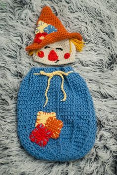Newborn Crochet Patterns This OOAK snuggle is perfect for Fall and Halloween photo shoots. Color customization available upon. Crochet Fall, Halloween Crochet, Holiday Crochet, Cute Crochet, Crochet Crafts, Yarn Crafts, Crochet For Kids, Crochet Projects, Knit Crochet