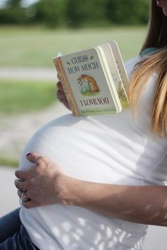 I love the idea of taking maternity shot pictures with books - especially since that's my most requested item for baby: books!