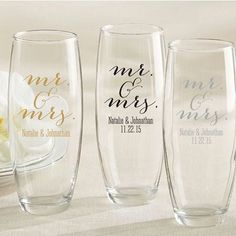 Personalized Stemless Champagne Glass Favors with Mr. Design Find out about wedding favor ideas; Brides about to be married in the strapless gown must not have Creative Wedding Favors, Inexpensive Wedding Favors, Elegant Wedding Favors, Edible Wedding Favors, Personalized Wedding Favors, Wedding Favors For Guests, Bridal Shower Favors, Wedding Ideas, Wedding Gifts