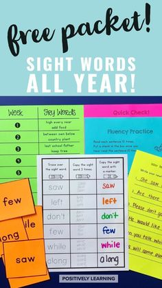 This free sight word packet will last all year! Fry Words 201-400 are featured in weekly sets for home or school practice. From Positively Learning Blog #sightwords #frywords