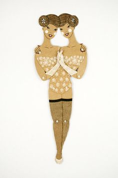 Siamese twins  Articulated Paper Doll by by dubrovskaya on Etsy, $15.00
