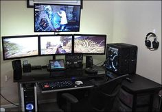 I love this set up 3 monitors to work on, one to watch tv and one to reference off