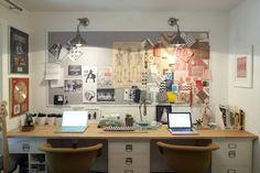 DIY desk using IKEA butcher block counter tops