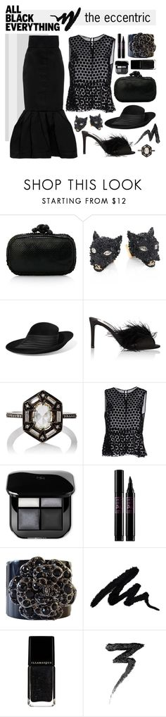 """All Black Eccentric"" by maxfield ❤ liked on Polyvore featuring Bottega Veneta, Alexis Bittar, Philip Treacy, Prada, Cathy Waterman, Giorgia & Johns, Lancôme, Chanel, Manic Panic NYC and Leal Daccarett"