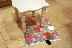 Mod Podge Furniture tutorial,,,perfect ideas and help for doing the old coffee table,
