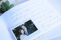 the picket fence projects: Our wedding - Polaroid camera - then tape the picture with a message in the book!