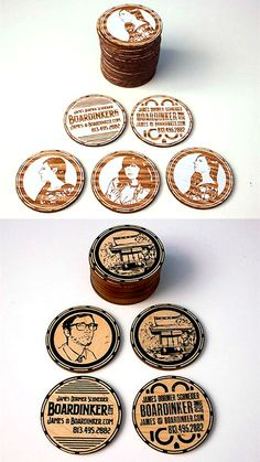 Laser Etched Illustration Style Circular Wooden Business Cards
