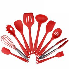 Zpet 10 Pieces Silicone Kitchen Cooking Utensils Set, Heat-Resistant Non-Stick Baking Utensils Tools with Hygienic Solid Coating Spatula Set (Red) Silicone Kitchen Utensils, Baking Utensils, Cooking Utensils Set, Kitchen Utensil Set, Cooking Tools, Silicone Bakeware, Cooking Stove, Cooking Games, Kid Cooking